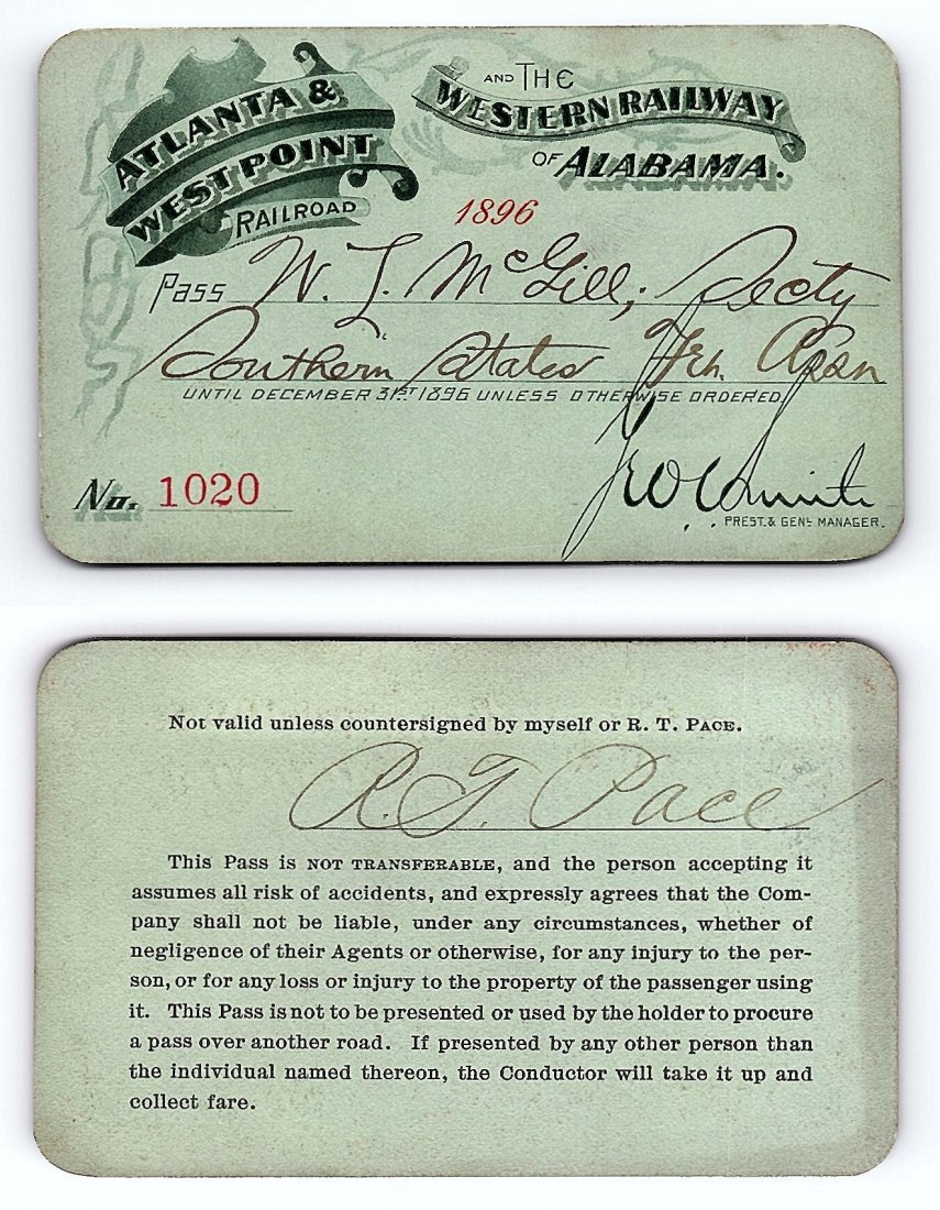 1896 Atlanta&West Point &Western Railway of Alabama