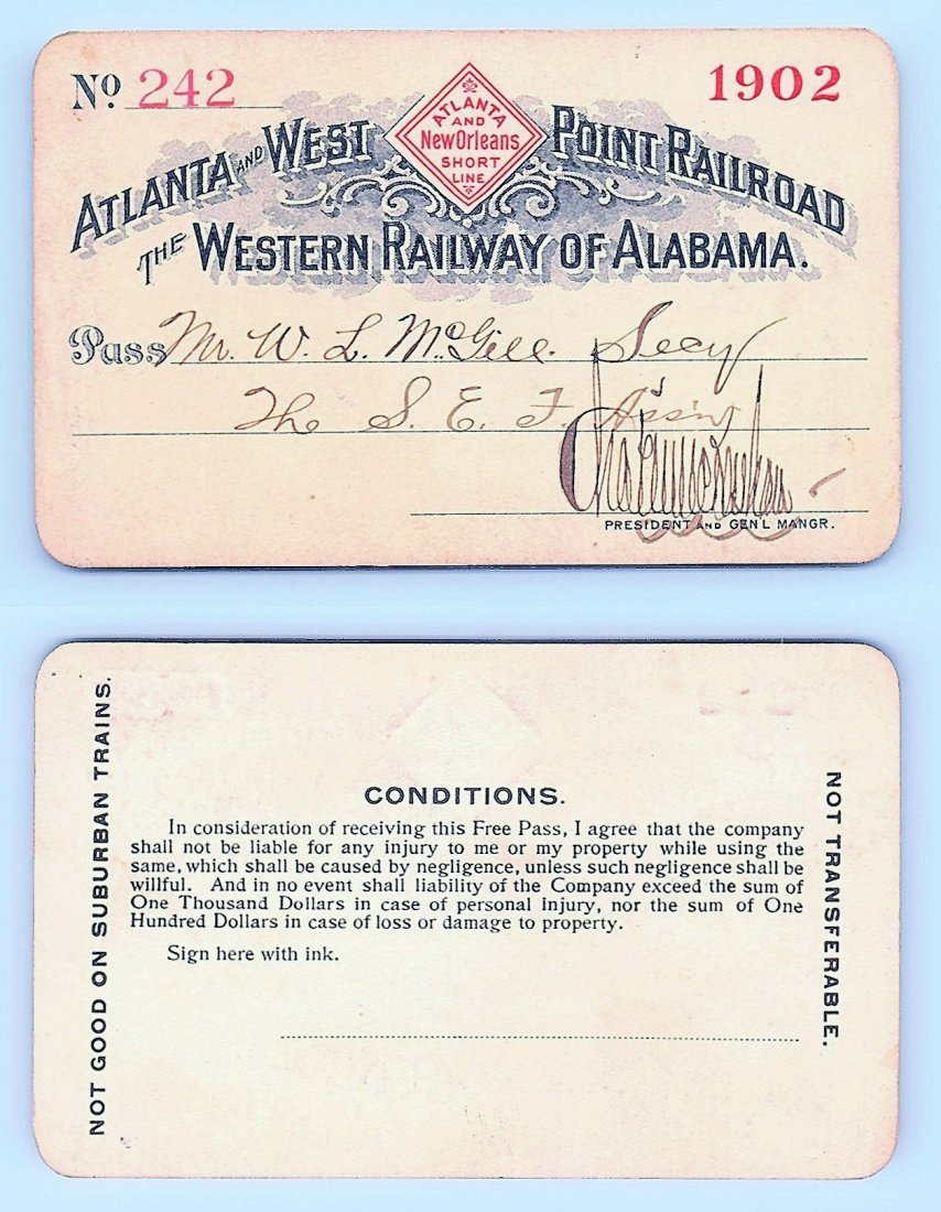 1902 Atlanta&West Point &Western Railway of Alabama