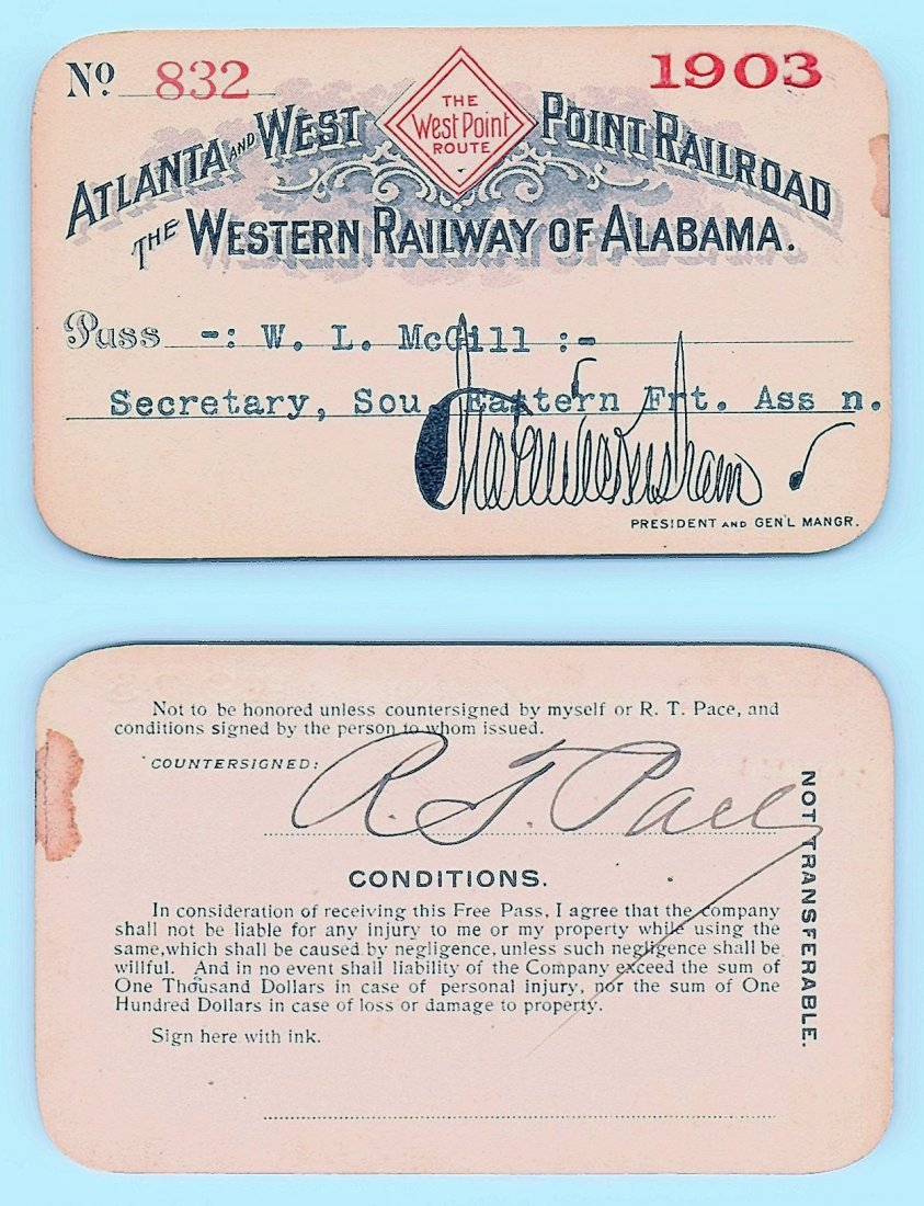 1903 Atlanta&West Point &Western Railway of Alabama