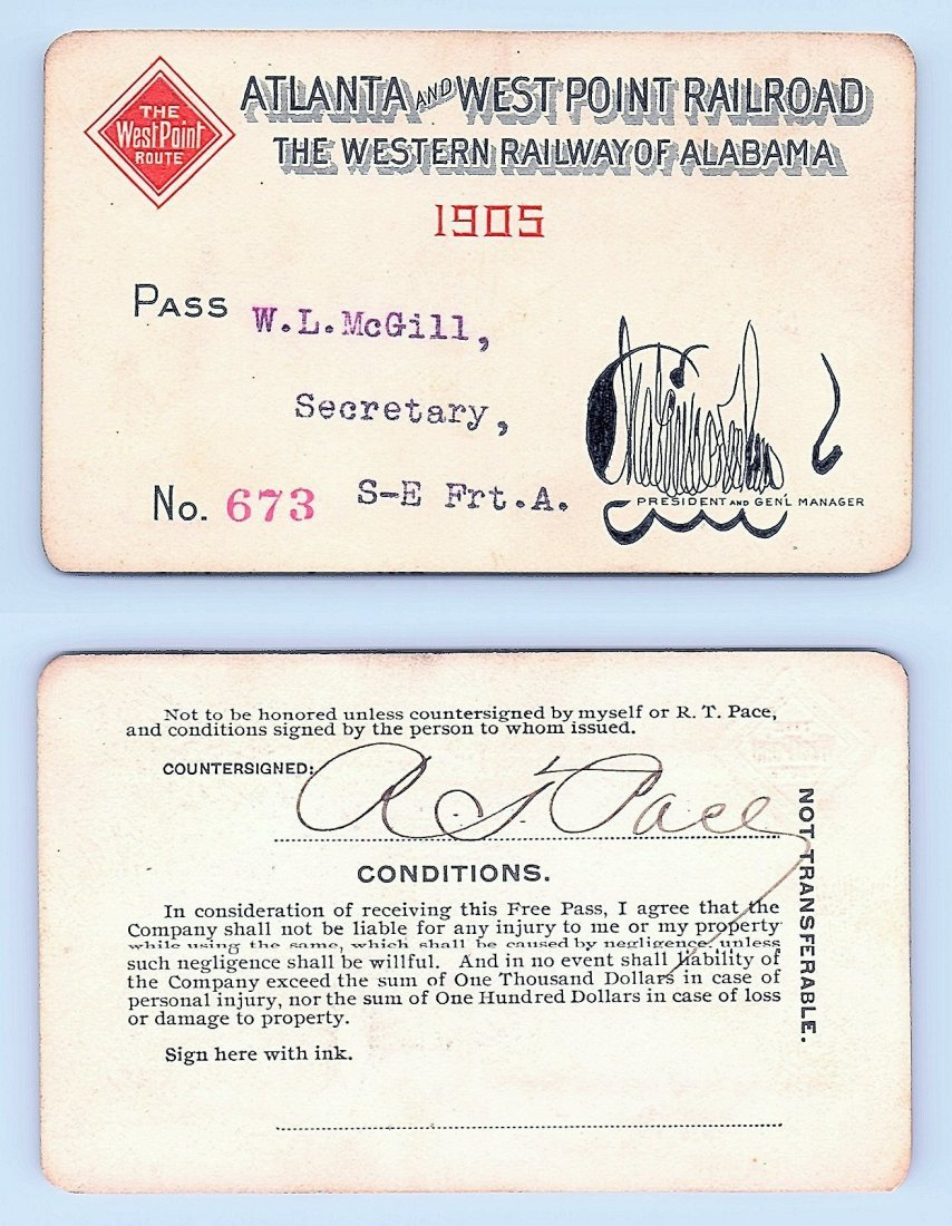 1905 Atlanta&West Point &Western Railway of Alabama