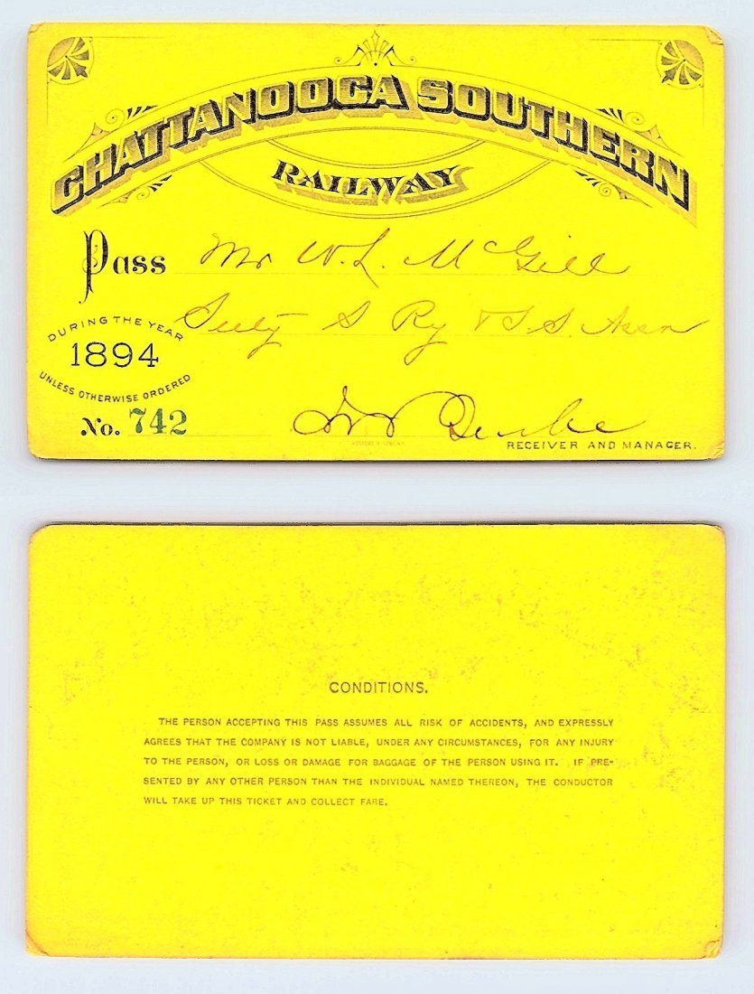 1894 Chattanooga Southern Railway Pass