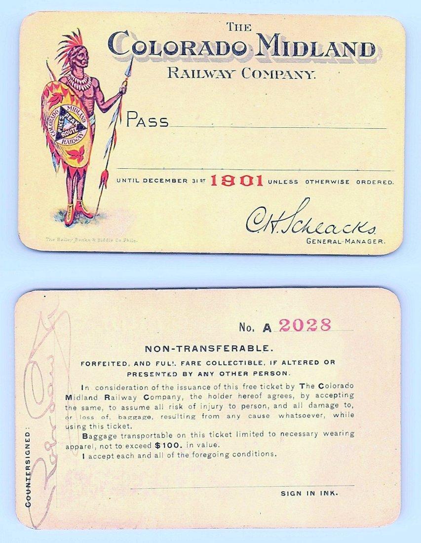 1901 Colorado Midland Railway Company Pass