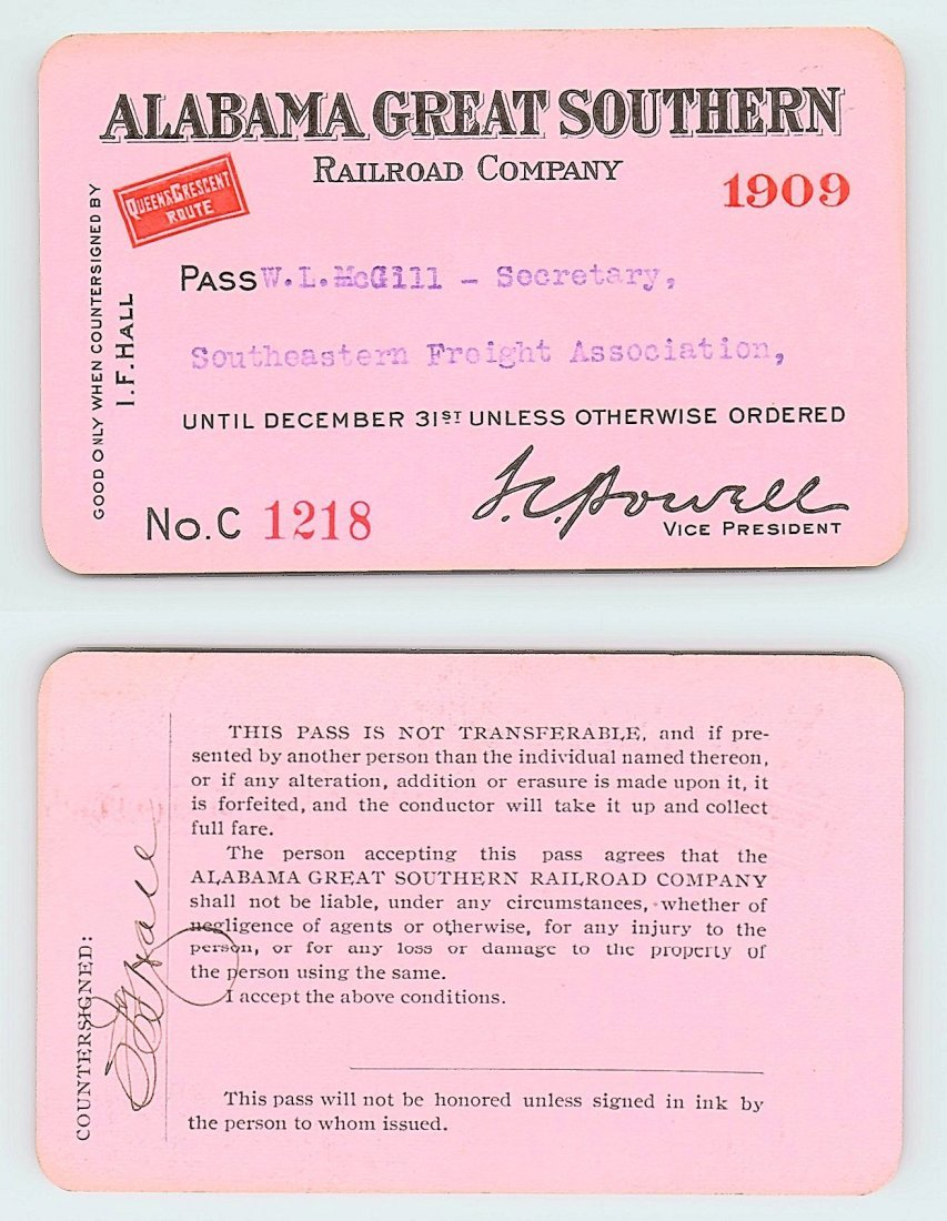 1909 Alabama Great Southern Railroad Company Railroad