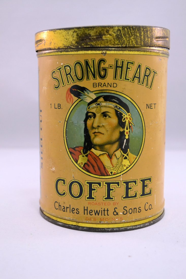 Rare Strong-Heart Coffee Tin Featuring Native American
