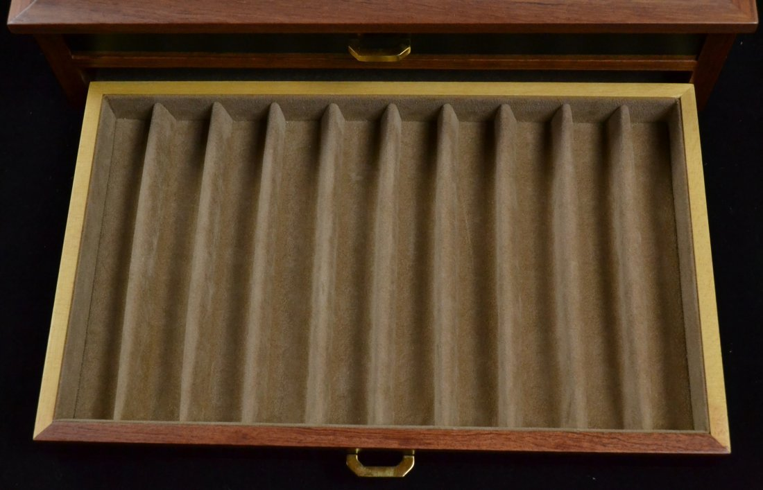 Agresti Wooden Two Drawer Box 20 Pen Display Case - 8