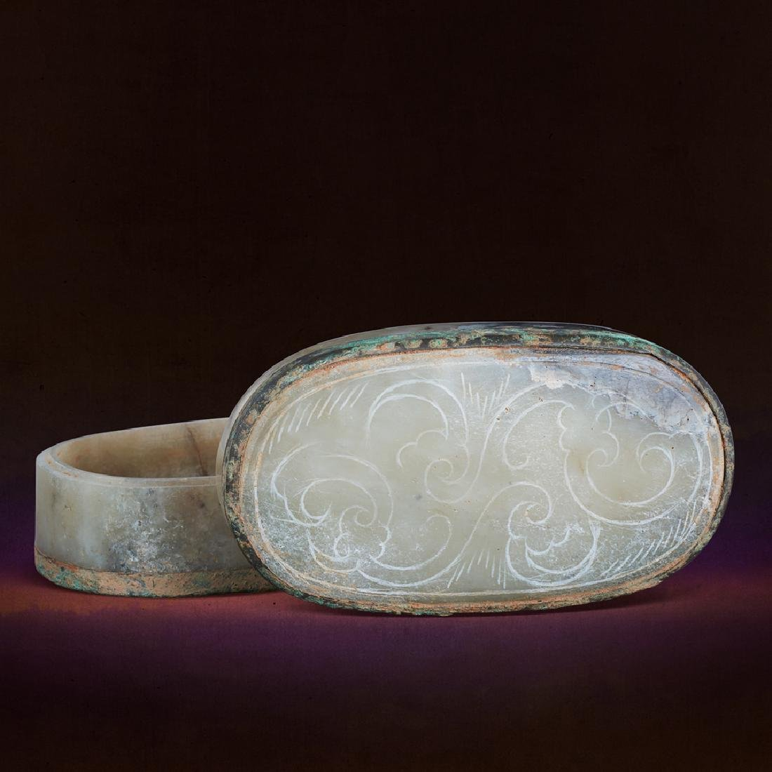 A CHINESE COPPER-INLAID WHITE JADE 'CLOUD' SCROLL
