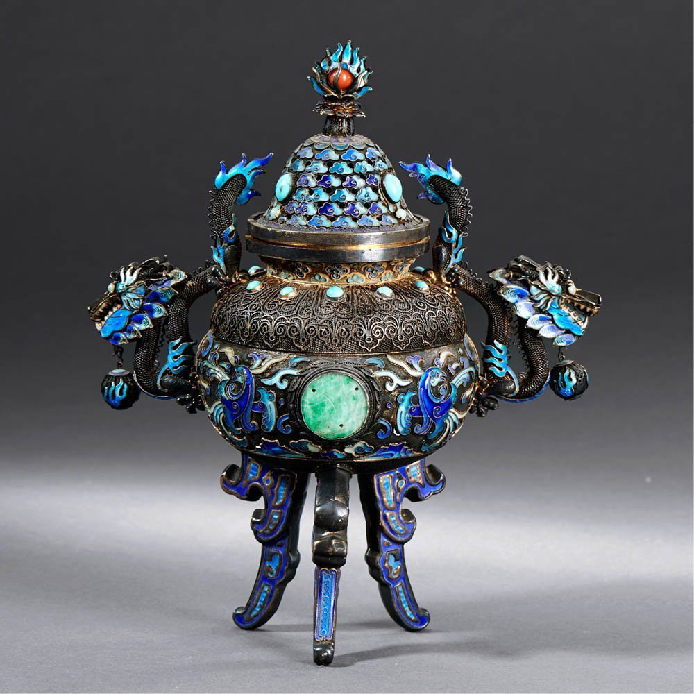 A CHINESE CLOISONNE ENAMELED SILVER TRIPOD CENSER