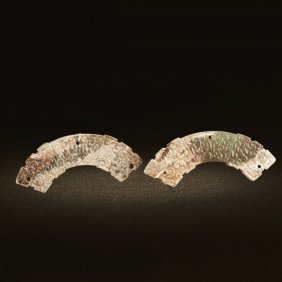 A Pair Of Chinese Unearthed Jade Dragon Huangs