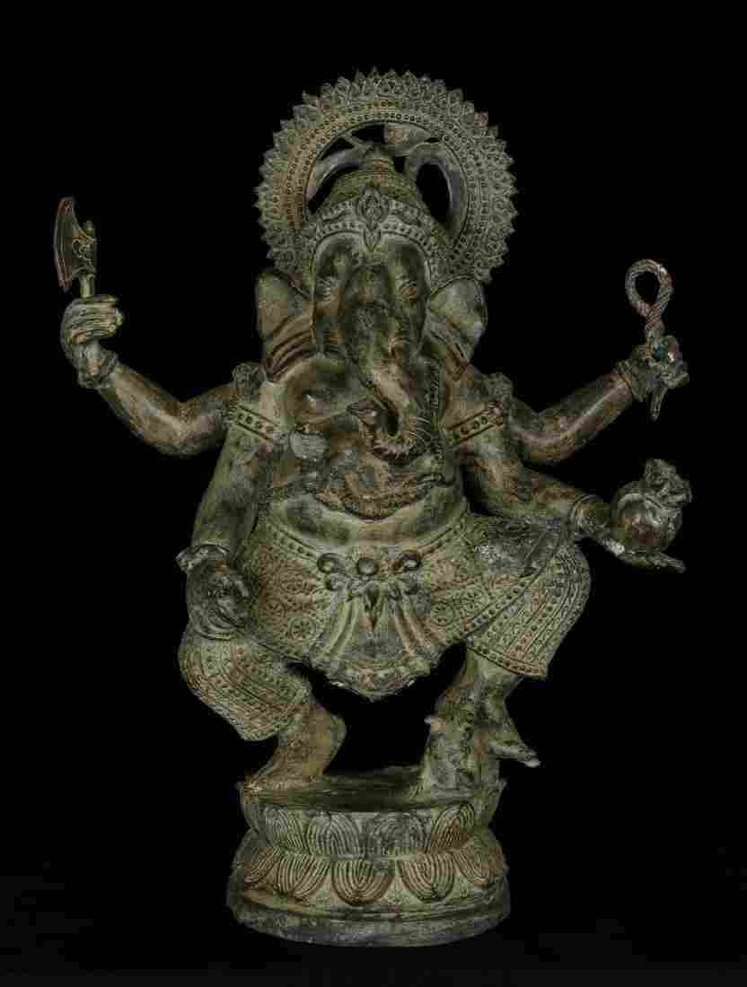 19th Century Standing Bronze Chola Ganesha