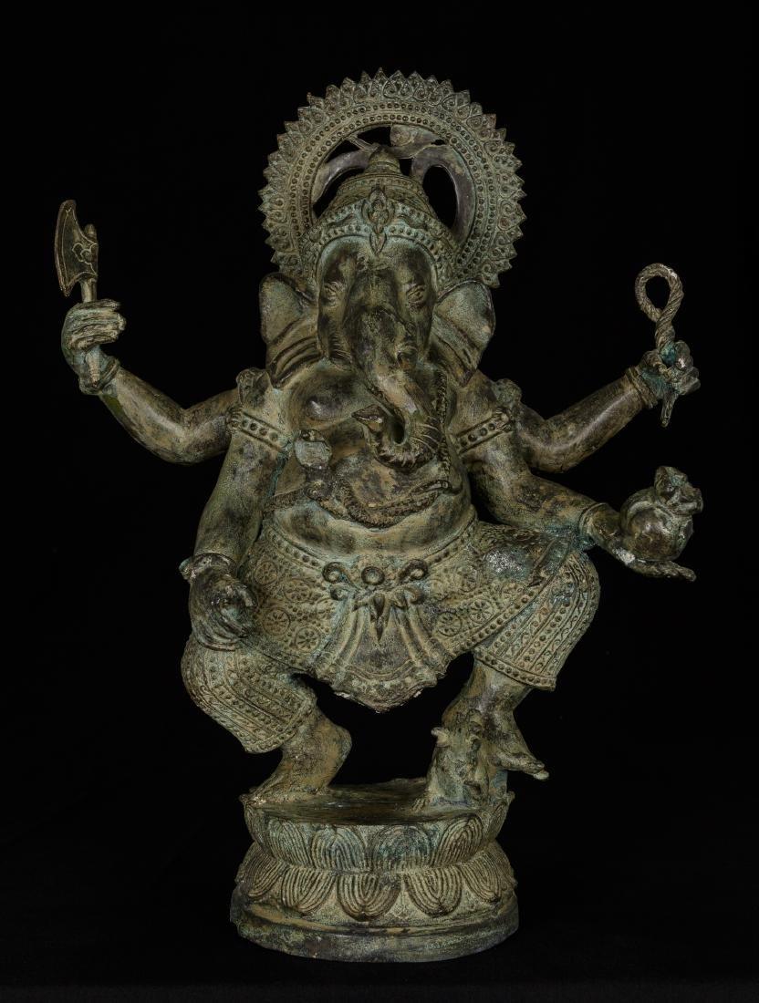 19th Century Standing Bronze Chola Ganesha