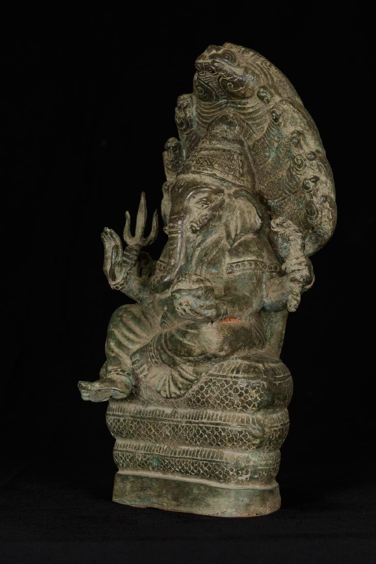19th Century Seated Bronze Naga Ganesha - 2