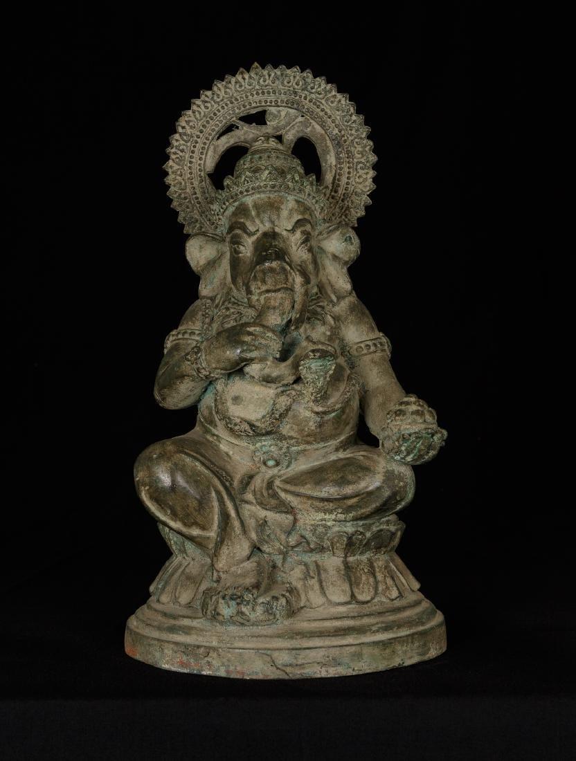 19th Century Seated Bronze Chola Ganesha