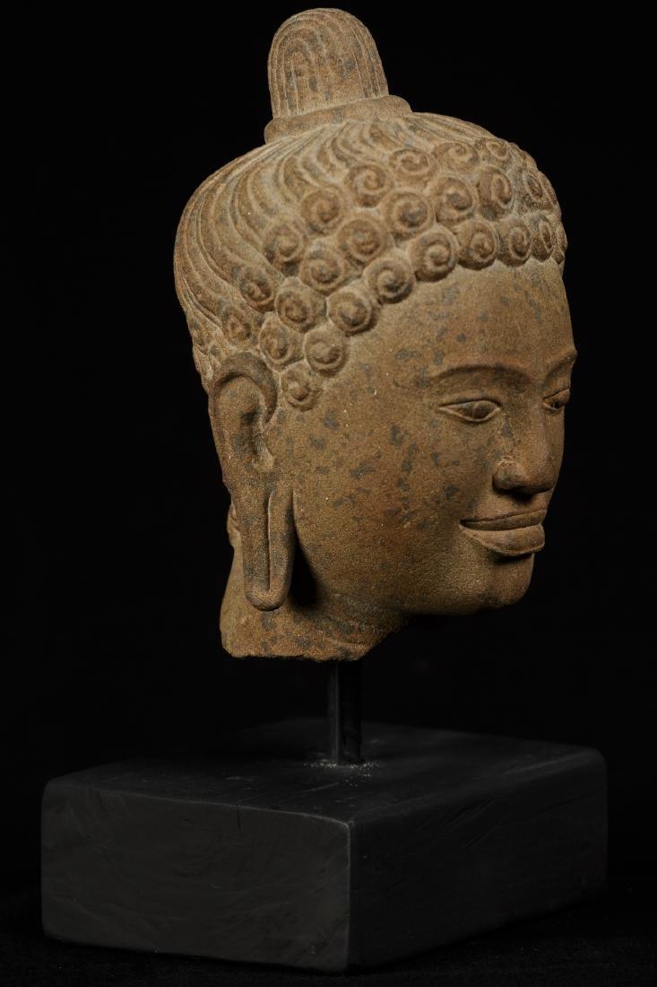 18th Century Indian Gandhara Stone Buddha Head Statue