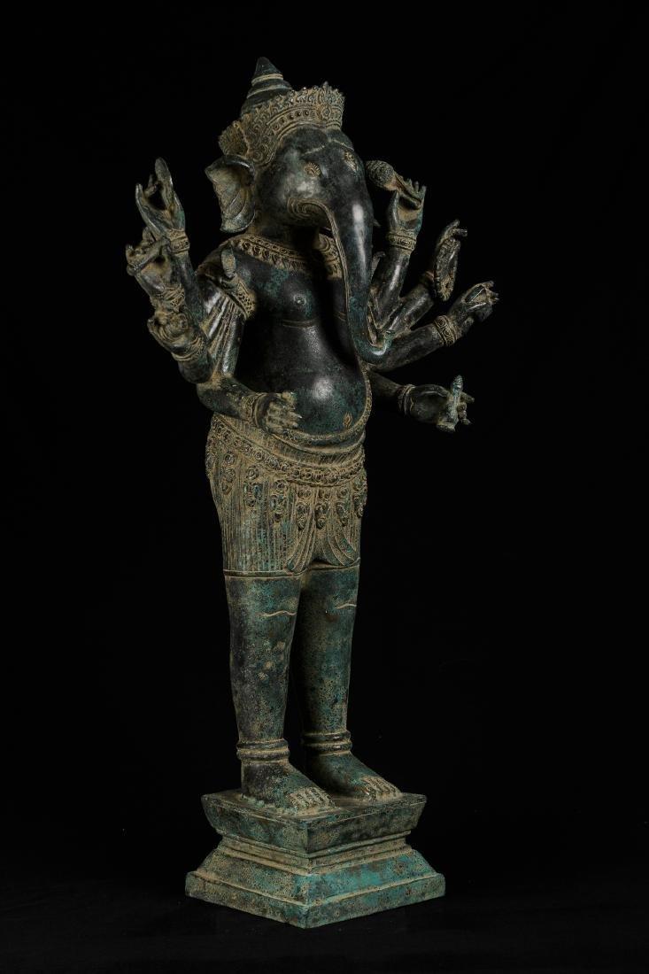 19th Century Antique Standing Bronze Khmer Ganesha
