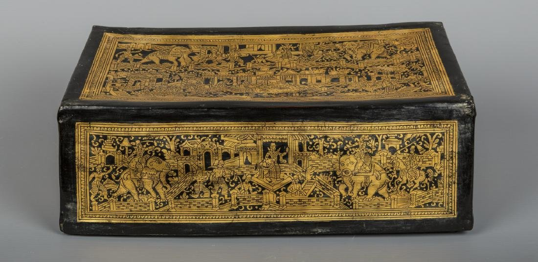 19th Century Burmese Shwe Zawa Lacquerware Box