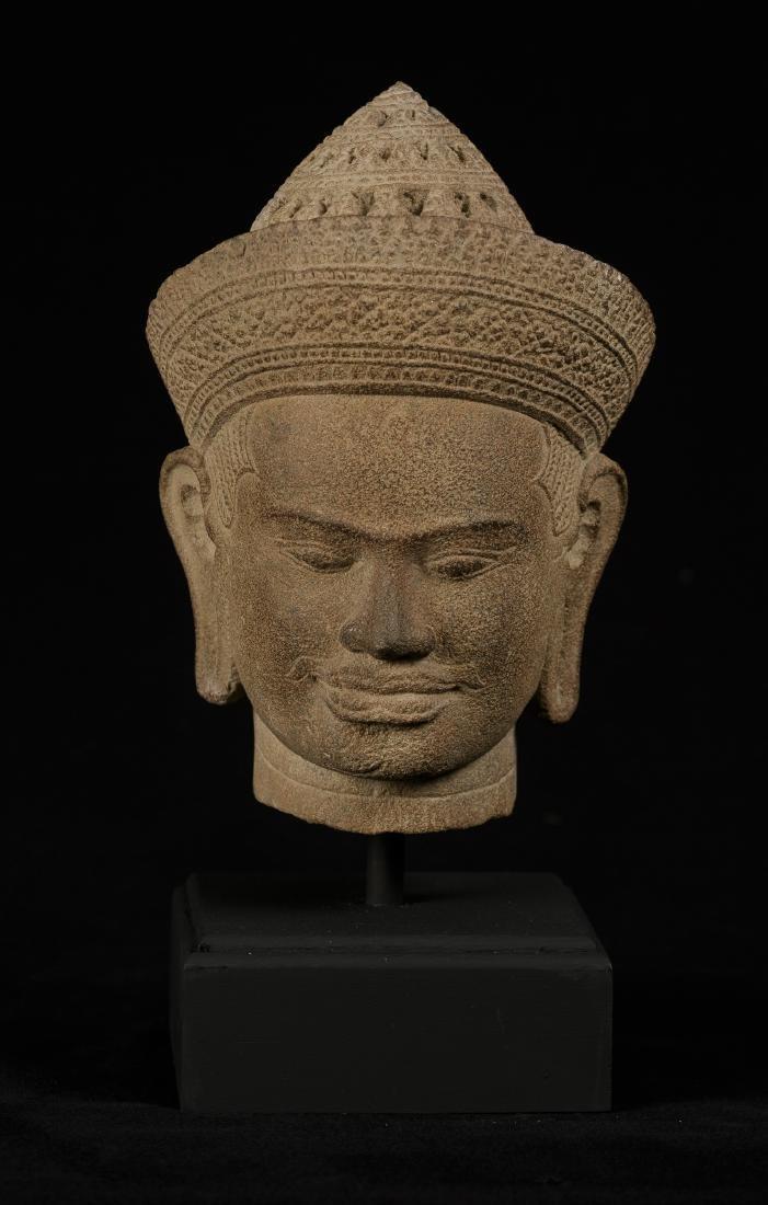 18th Century Sandstone Vishnu Head - Protector &