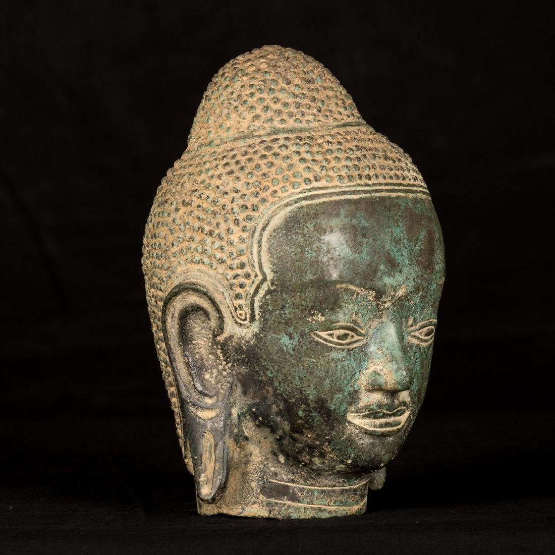 19th Century Thai Bronze Buddha Head