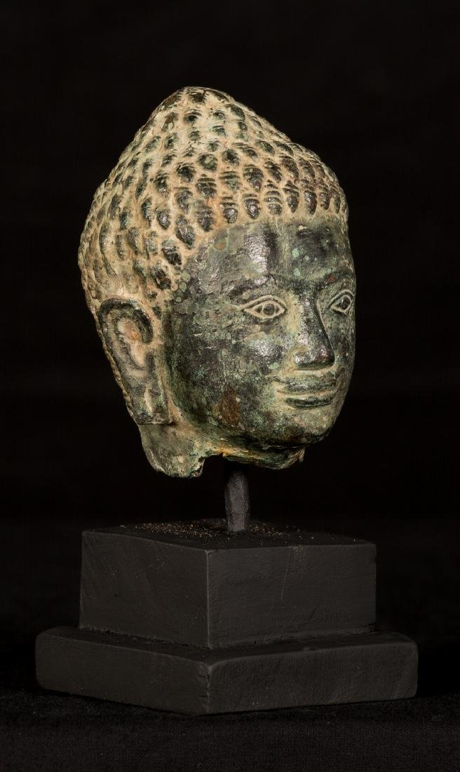 18th Century Thai Dvaravati style Bronze Buddha Head