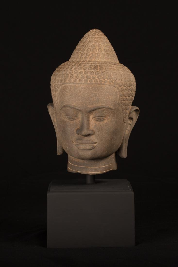 18th Century Thai Dvaravati style sandstone Buddha Head