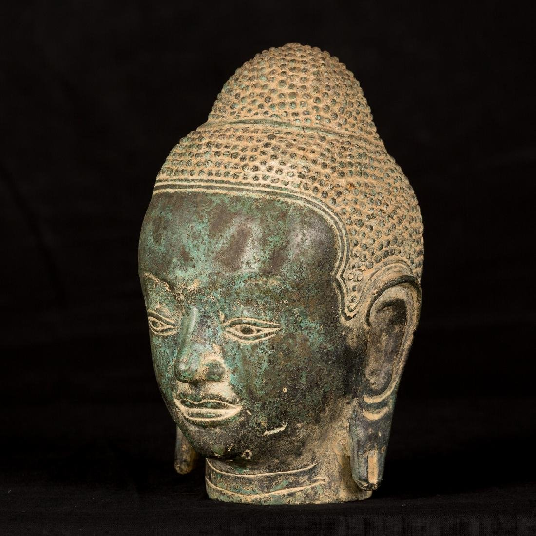 19th Century Thai Bronze Buddha Head