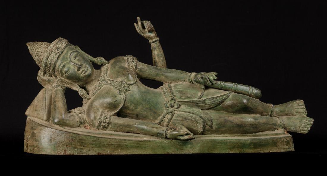 19th Century Antique Bronze Reclining Vishnu Statue
