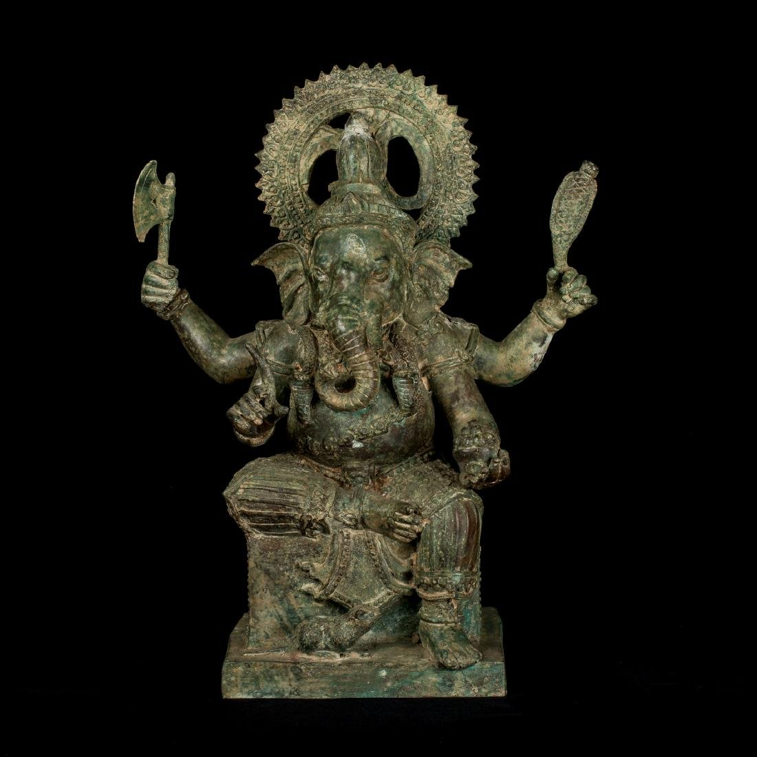 19th Century Antique Seated Bronze Ganesha Statue