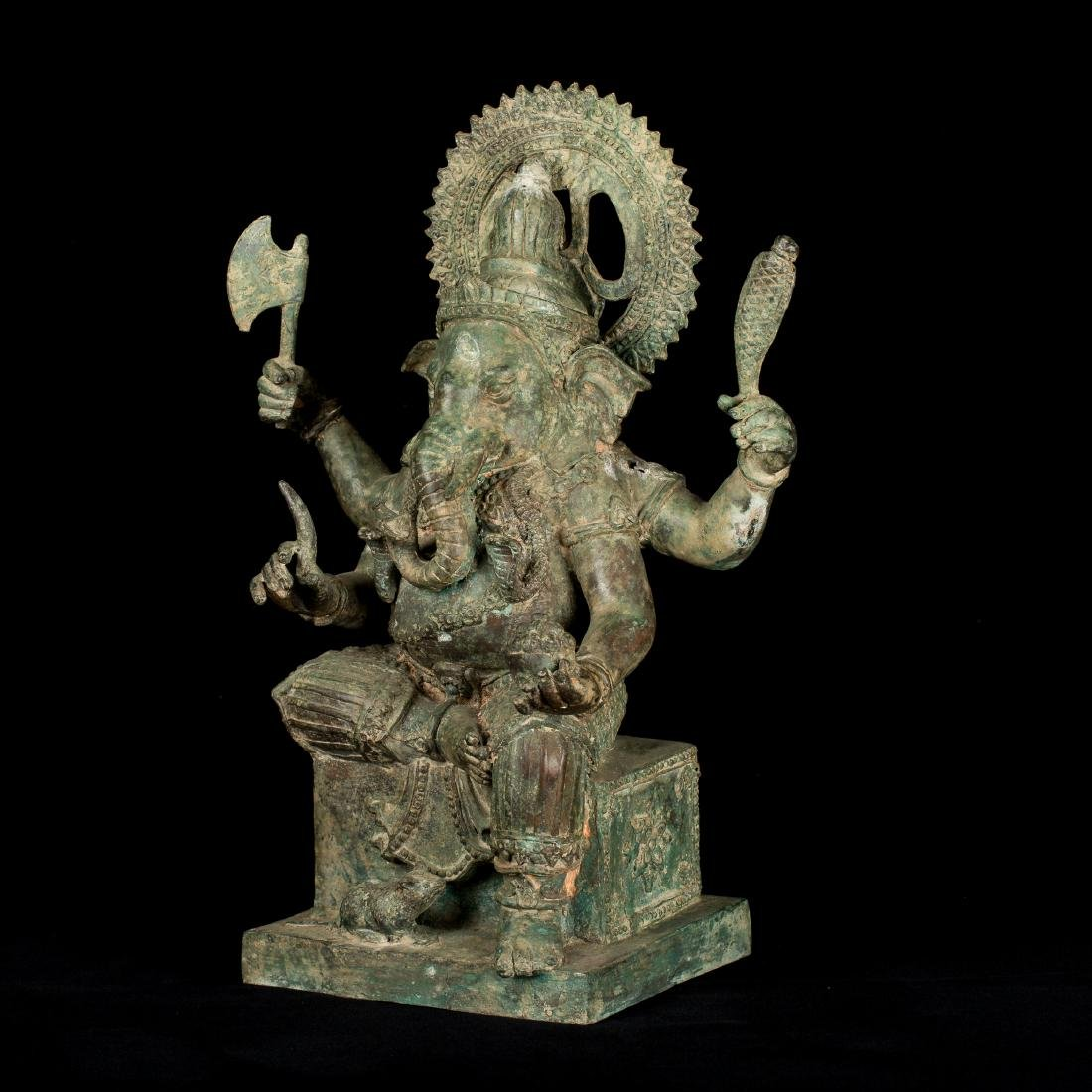 19th Century Antique Seated Bronze Ganesha Statue - 2