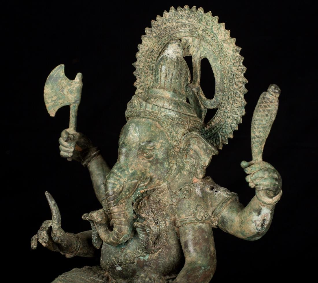 19th Century Antique Seated Bronze Ganesha Statue - 9