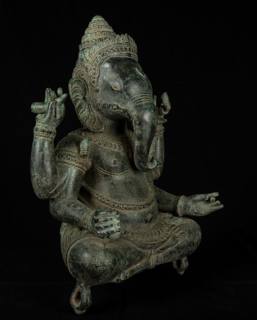 19th Century Antique Seated Bronze Ganesha Statue