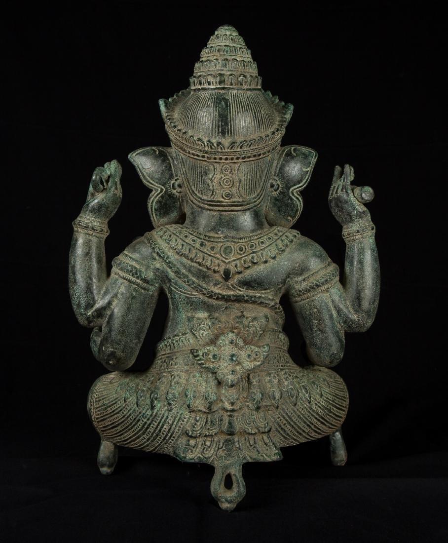 19th Century Antique Seated Bronze Ganesha Statue - 3