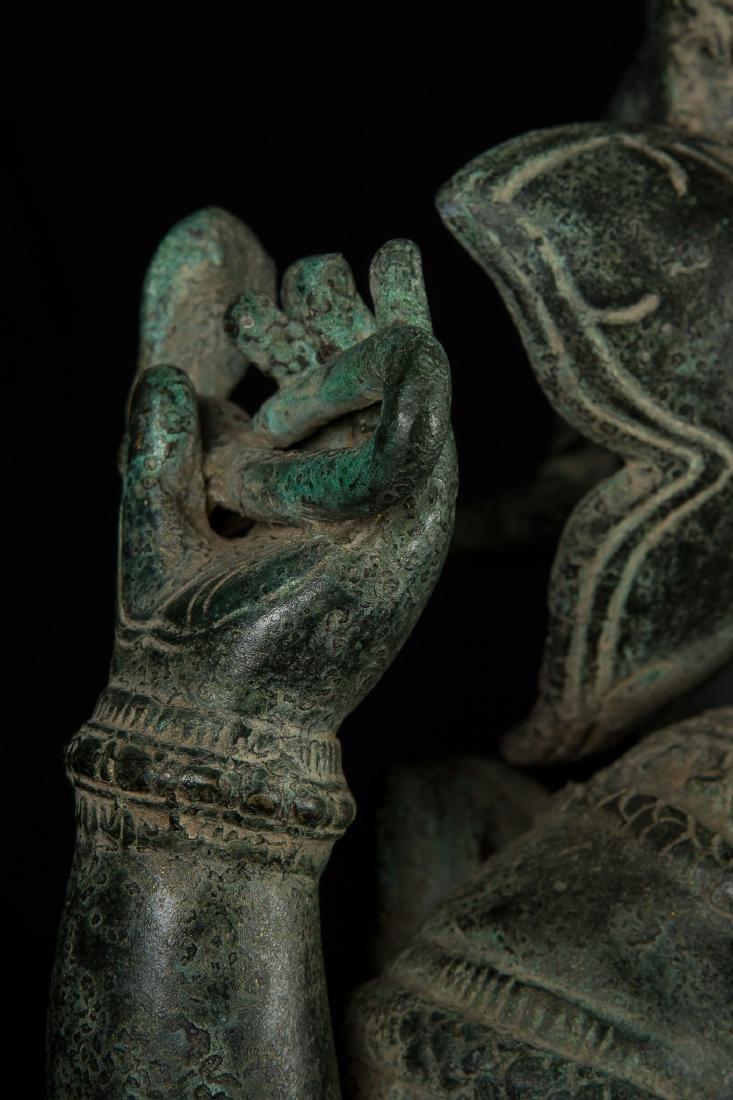 19th Century Antique Seated Bronze Ganesha Statue - 5