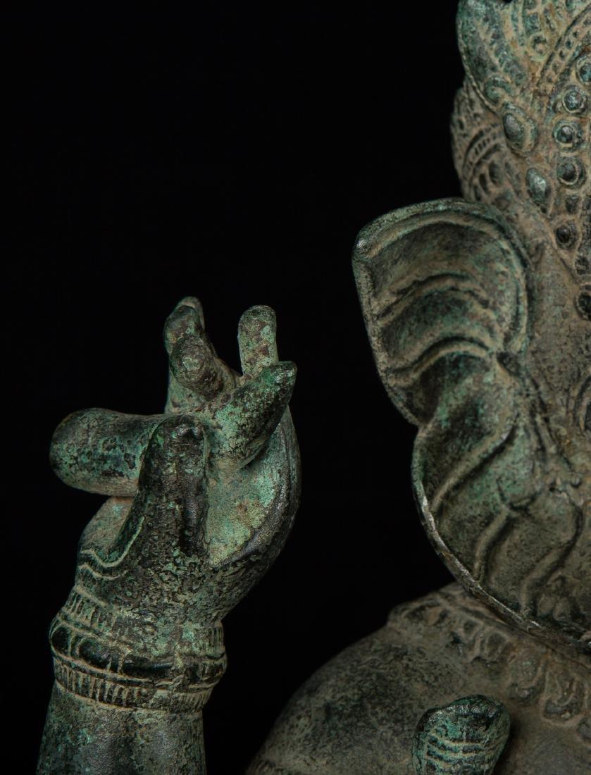 19th Century Antique Seated Bronze Ganesha Statue - 7