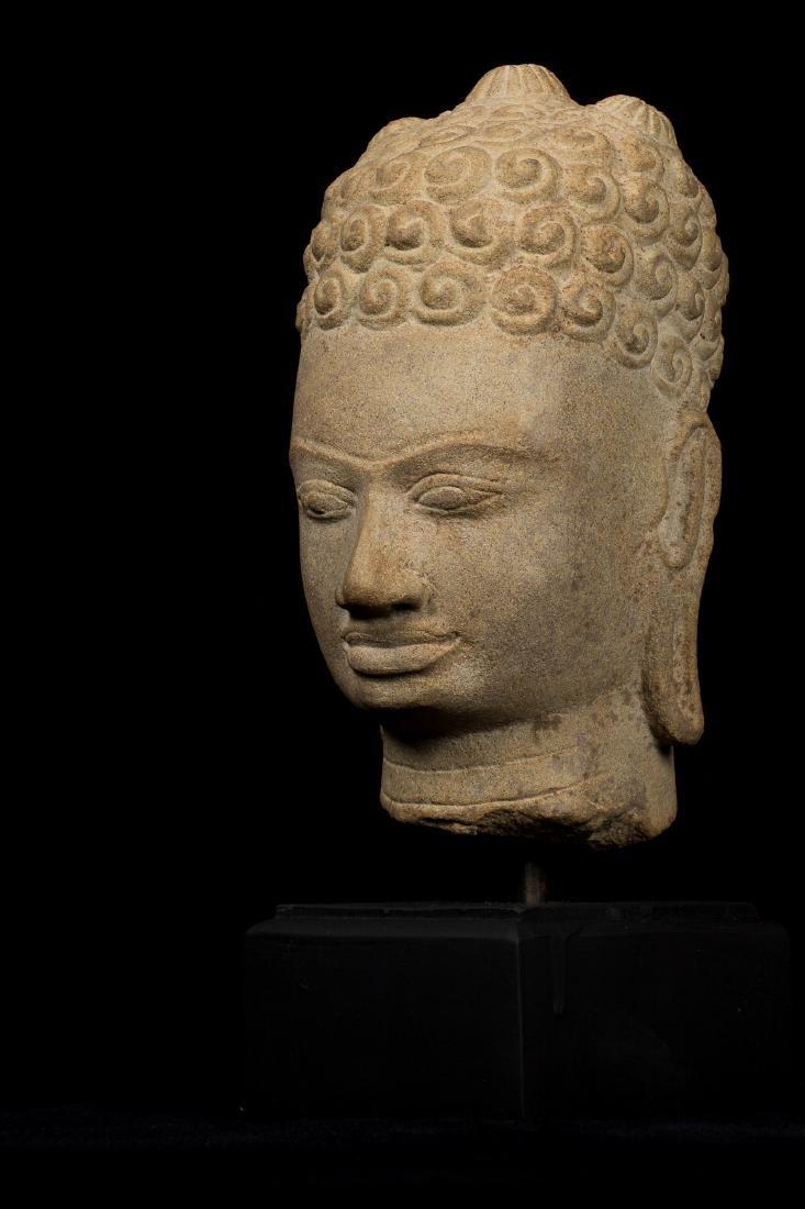 7th Century Style Khmer Buddha Head - 3