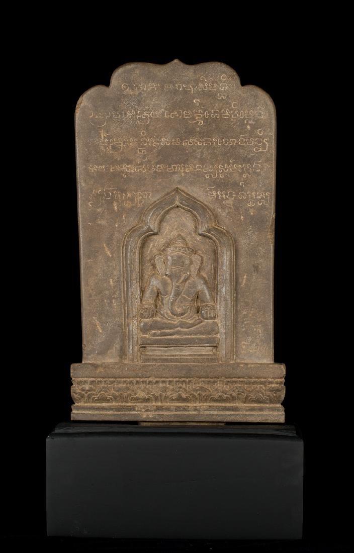 12th-13th Century Angkor Stele Ganesha & Teaching - 2