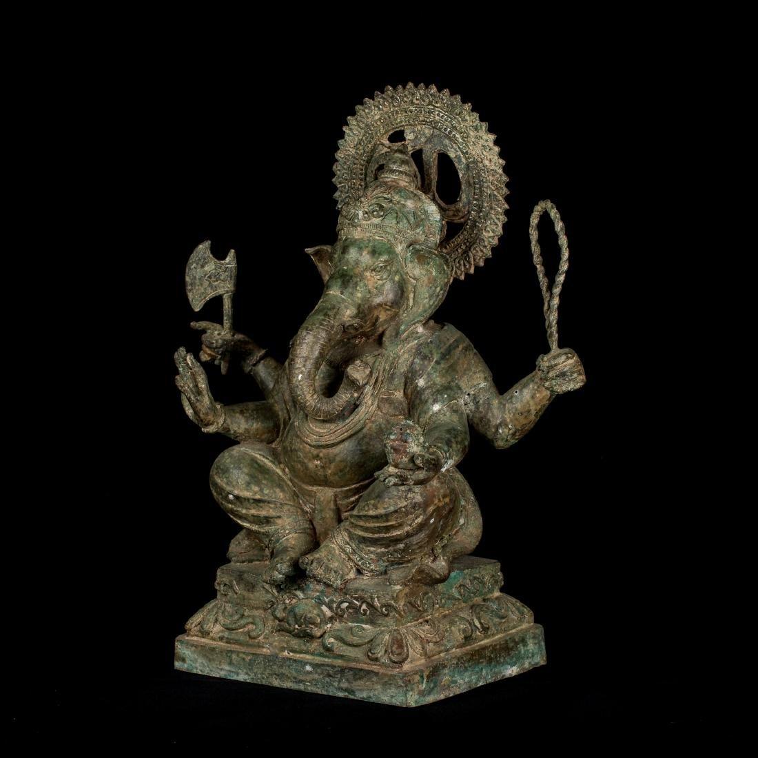 19th Century Antique Seated Bronze Ganesha Statue - 2