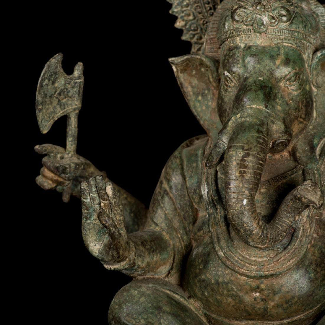 19th Century Antique Seated Bronze Ganesha Statue - 6