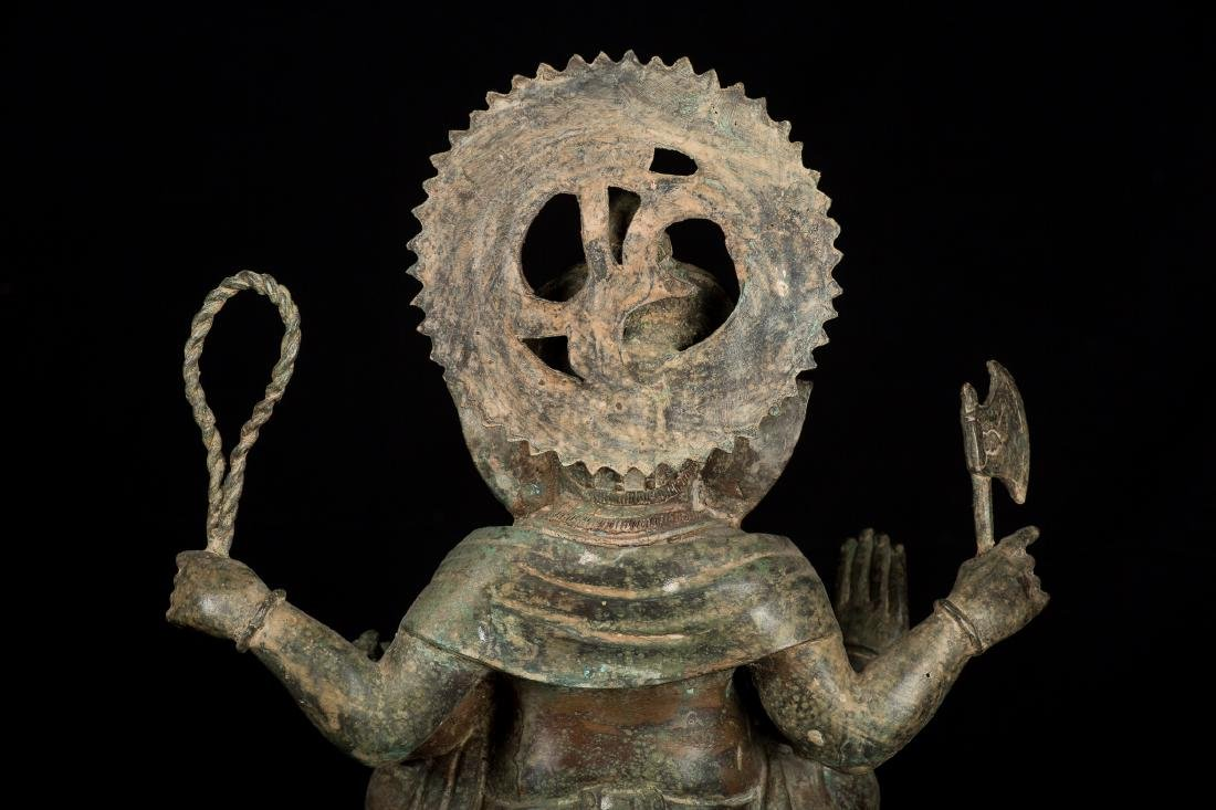 19th Century Antique Seated Bronze Ganesha Statue - 8