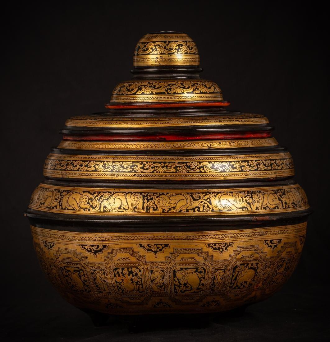 19th Century Burmese Lacquerware Offering Vessel - 2