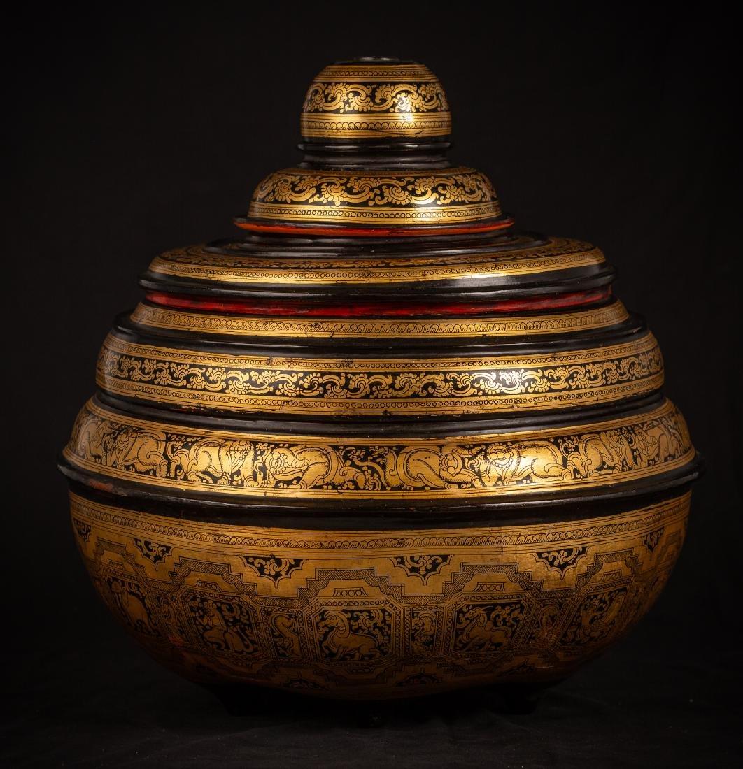 19th Century Burmese Lacquerware Offering Vessel - 3