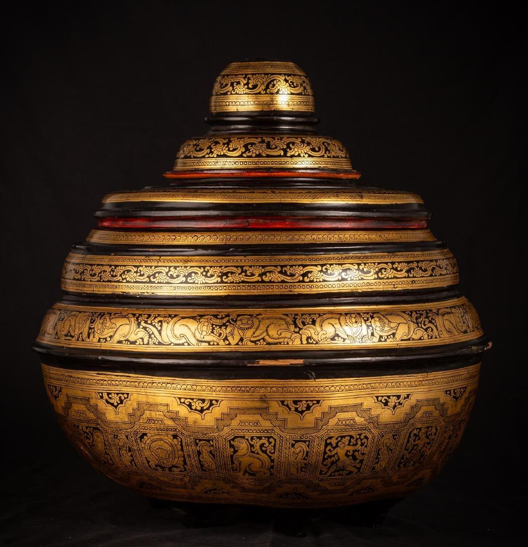 19th Century Burmese Lacquerware Offering Vessel - 4