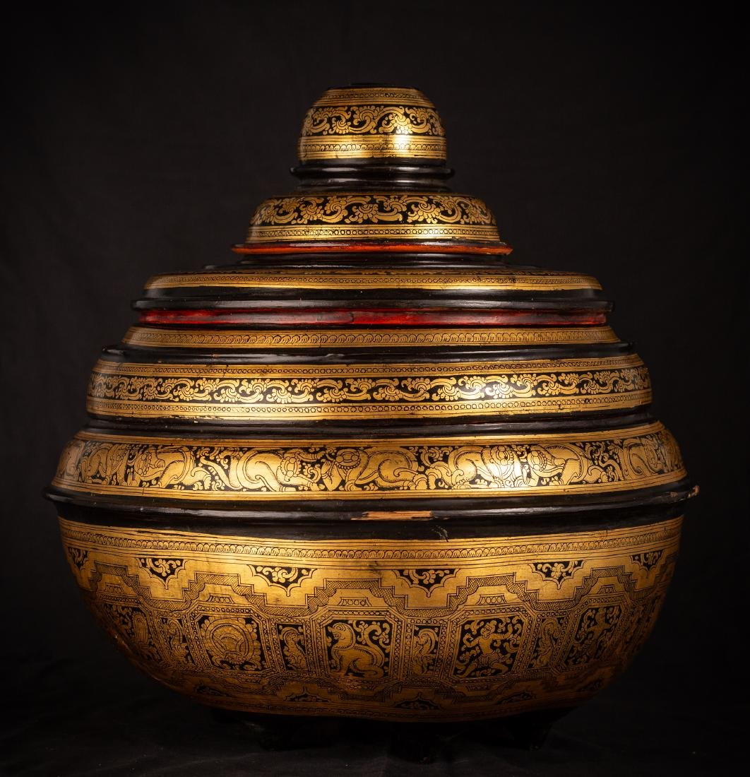 19th Century Burmese Lacquerware Offering Vessel - 5