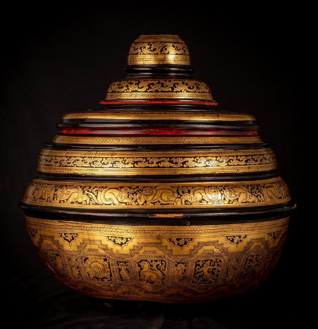 19th Century Burmese Lacquerware Offering Vessel - 6