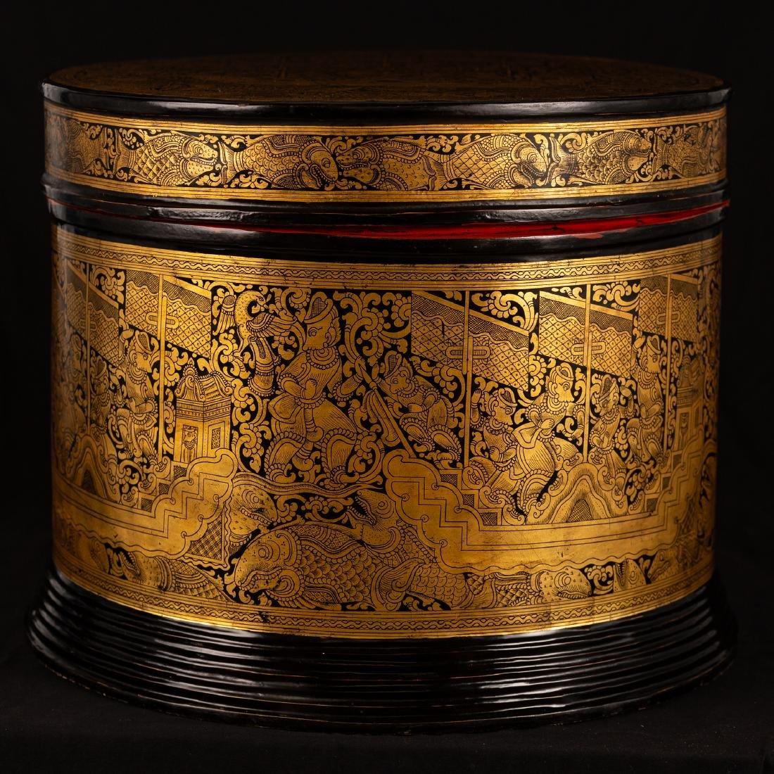19th Century Burmese Lacquerware Monks Robe Box - 2