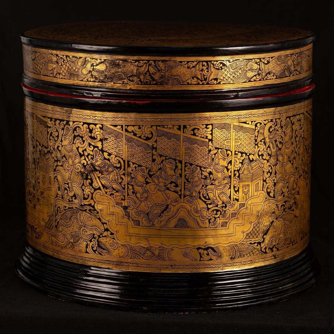19th Century Burmese Lacquerware Monks Robe Box - 3