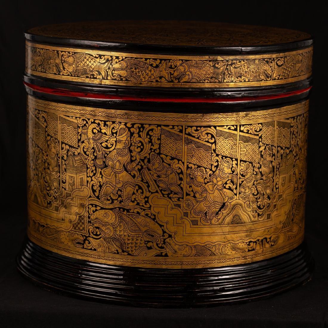 19th Century Burmese Lacquerware Monks Robe Box - 4