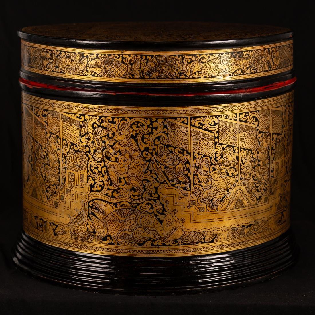 19th Century Burmese Lacquerware Monks Robe Box - 5