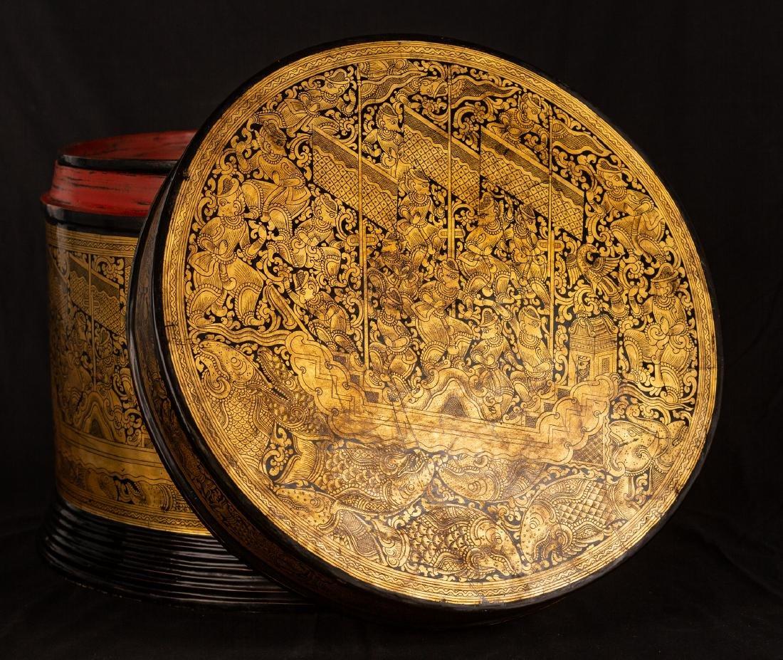 19th Century Burmese Lacquerware Monks Robe Box - 6
