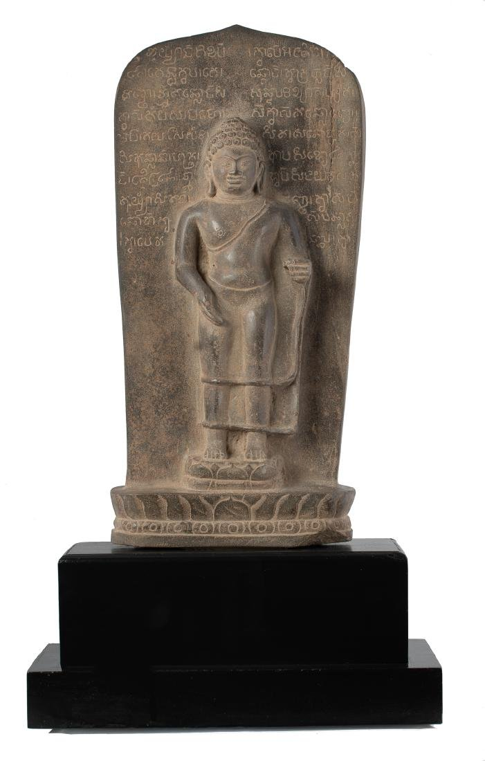 Antique Dvaravati Style Teaching Buddha Stele