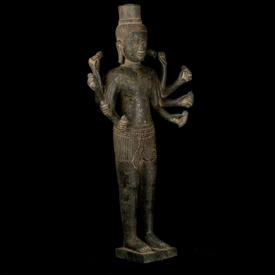 Antique Khmer Bayon Style Bronze Vishnu Statue