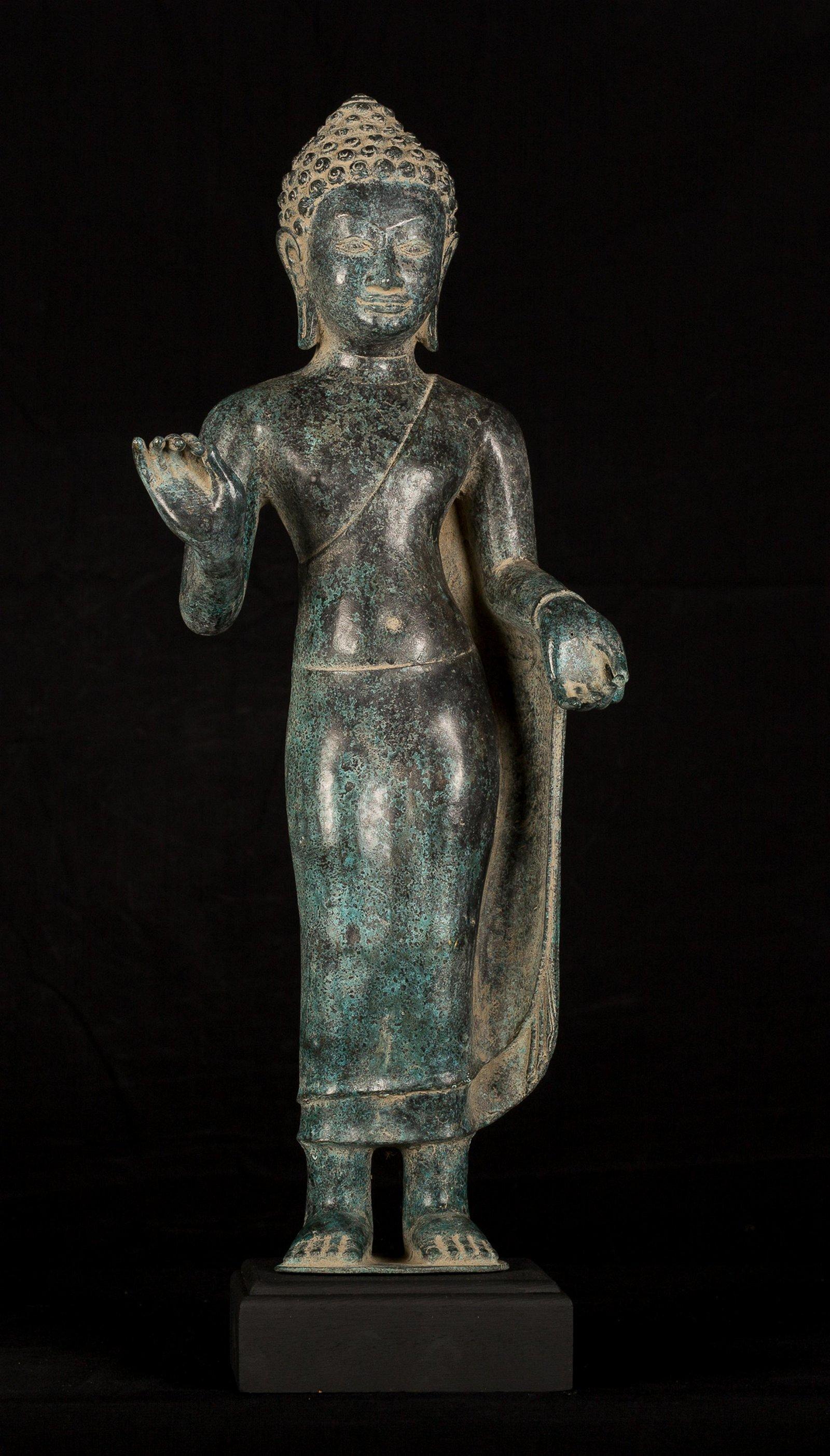 Antique Thai Style Dvaravati Standing Preaching Buddha